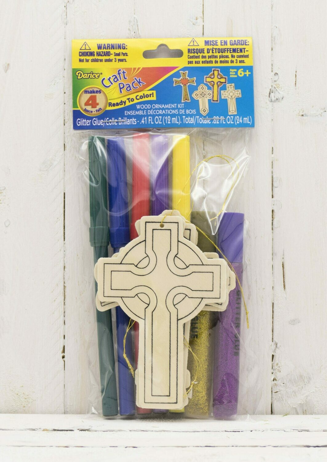 Craft Wood Cutout Ornament Kit Includes Markers & Glitter-Cross