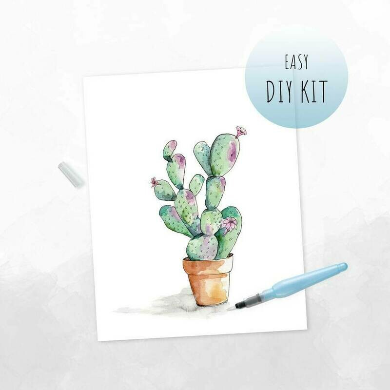 DIY Watercolor Kit- Cacti