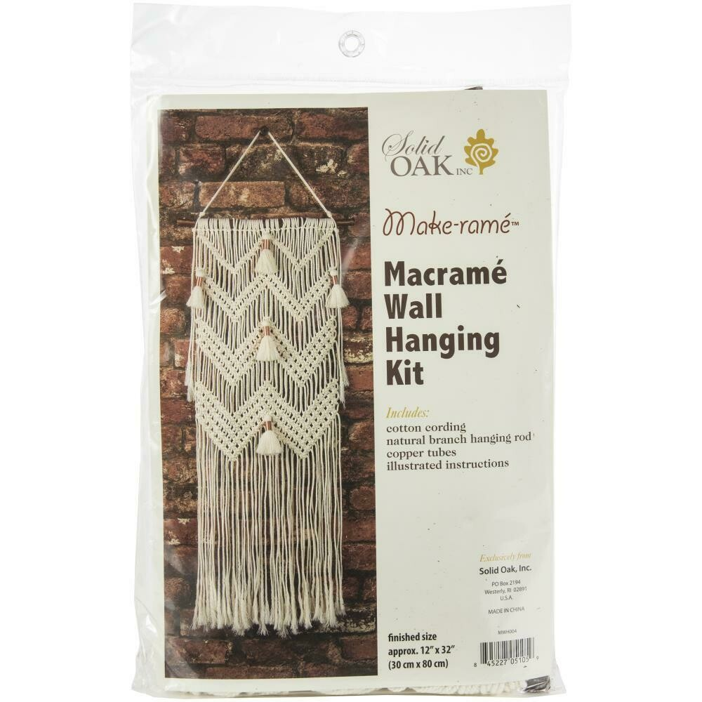 Solid Oak Macrame Wall Hanging Kit- Chevrons & Tassels