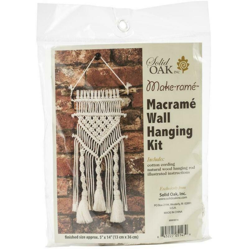 Solid Oak Macrame- Wall Hanging Kit- Tassel