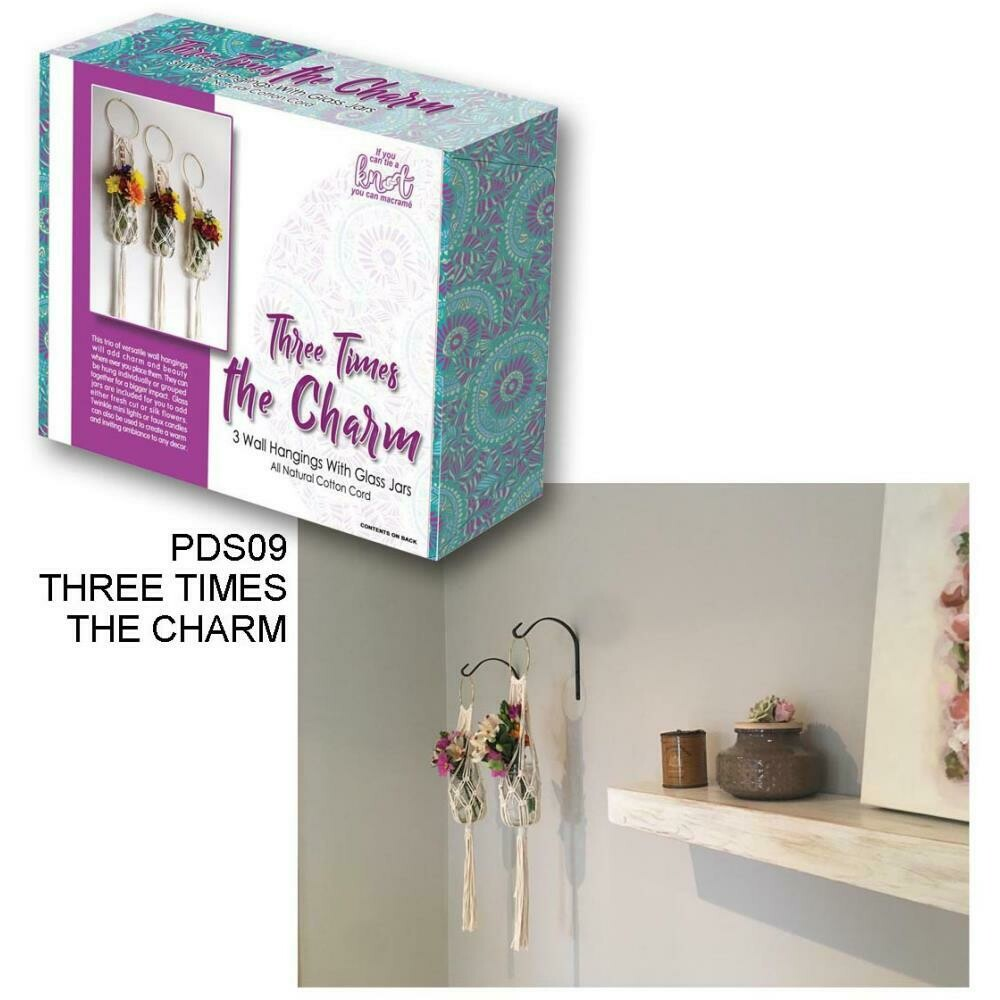 Three Times The Charm Macrame Kit- 3 Wall Hangings with Jars