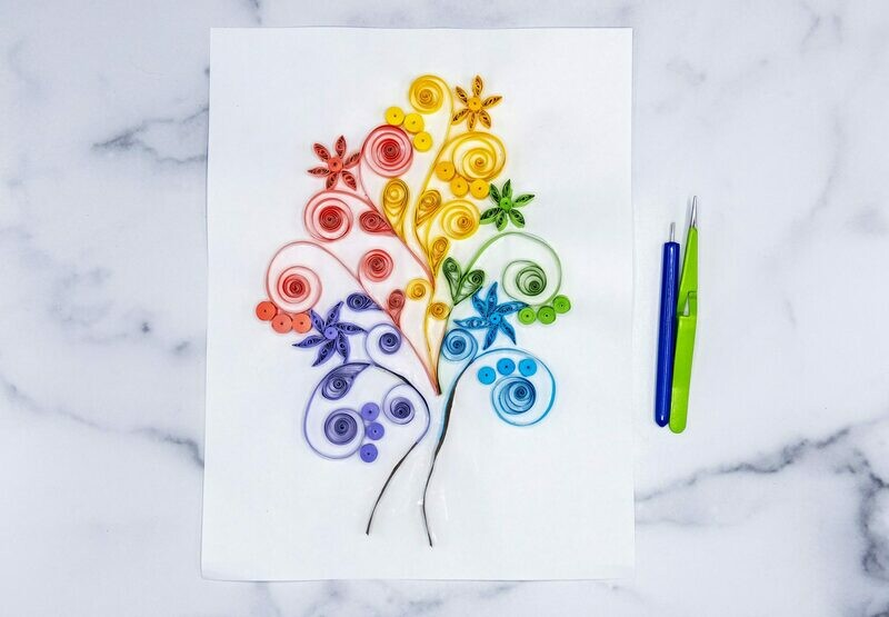 Colorful Tree Quilling Pattern
