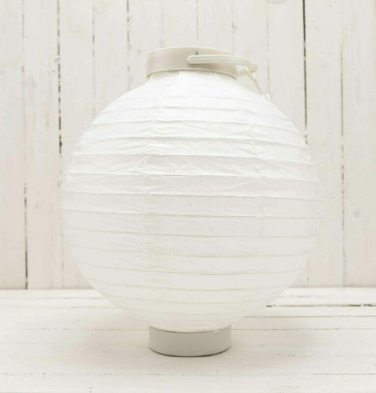 2 PC 8 IN Lighted White Paper Lanterns Battery OP