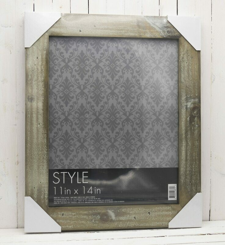 Barn Wood Picture Frame - Grey with White Wash - 11 x 14 inches