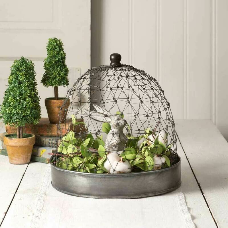French Chicken Wire Cloche with Tray (Special Order)