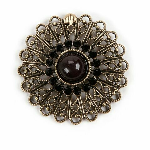 3 pc Gold/Black Pendant and Flower Charm Set