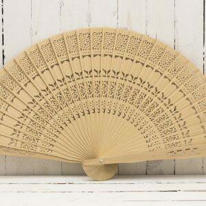 7.87 IN Wood Lace Fan Schima Wood