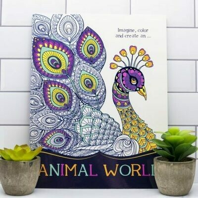 Adult Coloring Book- Imagine, Color and Create- Animal World