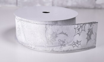Christmas Ribbon 2 1/2 Inches x 40 Yards Silver with Silver Holly Leaves