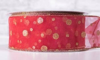 Christmas Ribbon 2 1/2 Inches x 40 Yards Red With Gold Dots