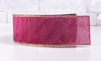 Christmas Ribbon 2 1/2 Inch x 40 Yards Deep Red with Gold Edging