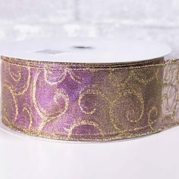 Christmas Ribbon 2 1/2 Inch wide x 40 yards Purple with Gold Pattern