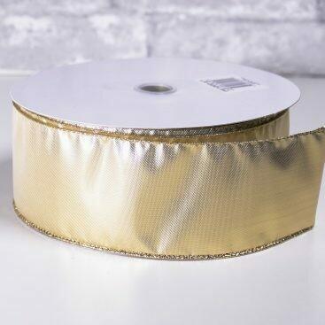 Christmas Ribbon 2 1/2 Inch x 40 Yards Gold