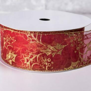 Christmas Ribbon 2 1/2 Inch x 40 Yards Red with Gold Holly Leaves