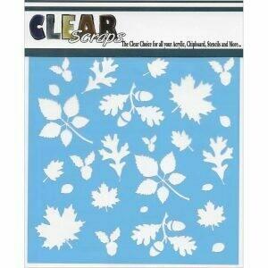 Clear Scraps Stencil 12 x 12 Fall Leaves