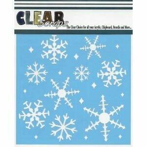 Clear Scraps Stencil 12 x 12 Ice Crystal Snowflake