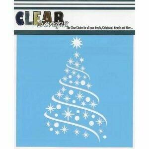 Clear Scraps Stencil 12 x 12 Ribbon Tree