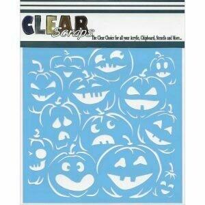 Clear Scraps Stencil 12 x 12 Pumpkin Face