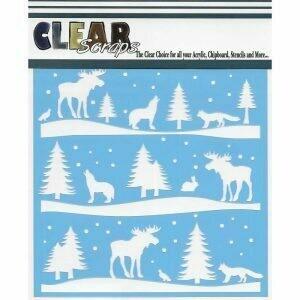 Clear Scraps Stencil 12 x 12 Rustic Forest