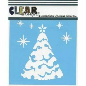 Clear Scraps Stencil 12 x 12 Snow Tree