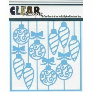 Clear Scraps Stencil 12 x 12 Swirl Christmas Bulbs