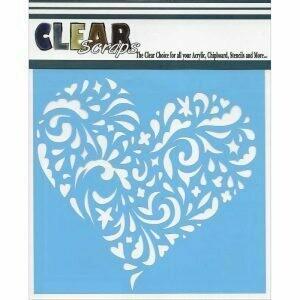 Clear Scraps Stencil 12 x 12 Swirl Heart