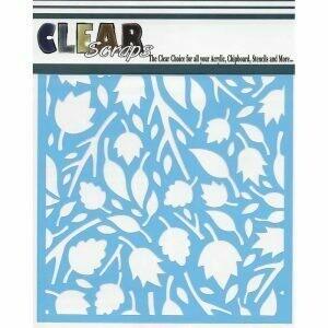 Clear Scraps Stencil 12 x 12 Twig Leaves
