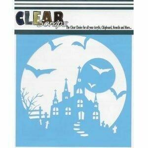 Clear Scraps Stencil- Haunted House 6 x 6
