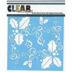 Clear Scraps Stencil- Holly Fun 6 x 6
