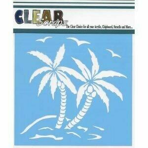 Clear Scraps Stencil- Summer Palm 6 x 6