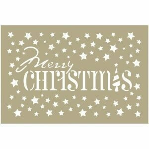 Couture Creations- Merry Christmas Stars 4 x 6 Stencil