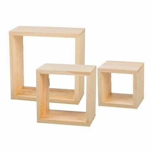 Pine Wood Cube Frames - Large 9 x 9 x 4 1/2