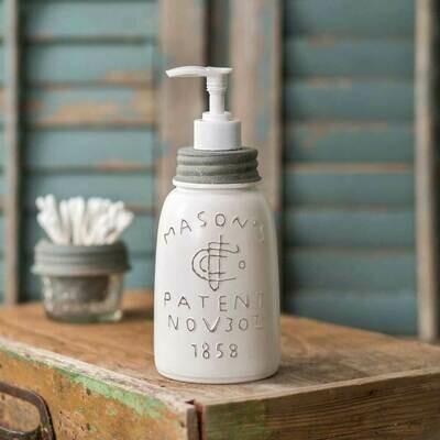 White Midget Pint Mason Jar Soap Dispenser (Special Order)