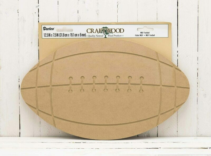 Wood Football Unfinished 12.5 in x 7.5 in x 6 mm