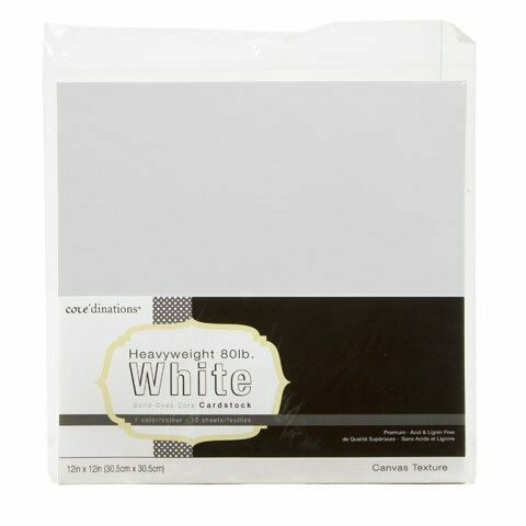 White 80 LB Cardstock 12 x 12 Canvas Text 10 Sheets