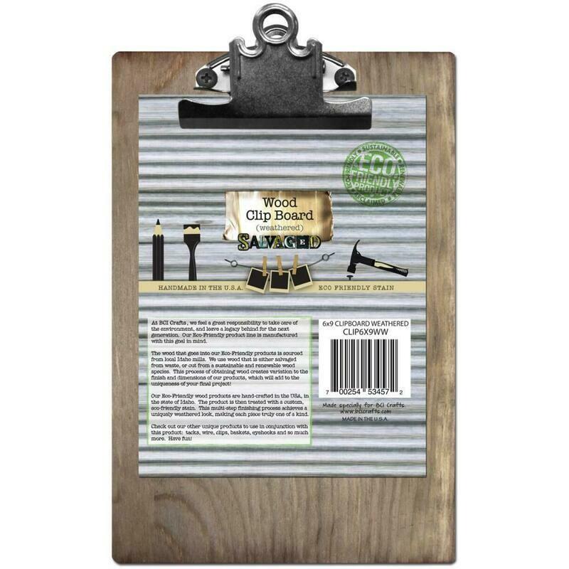 Weathered Wood Clip Board 6 x 9