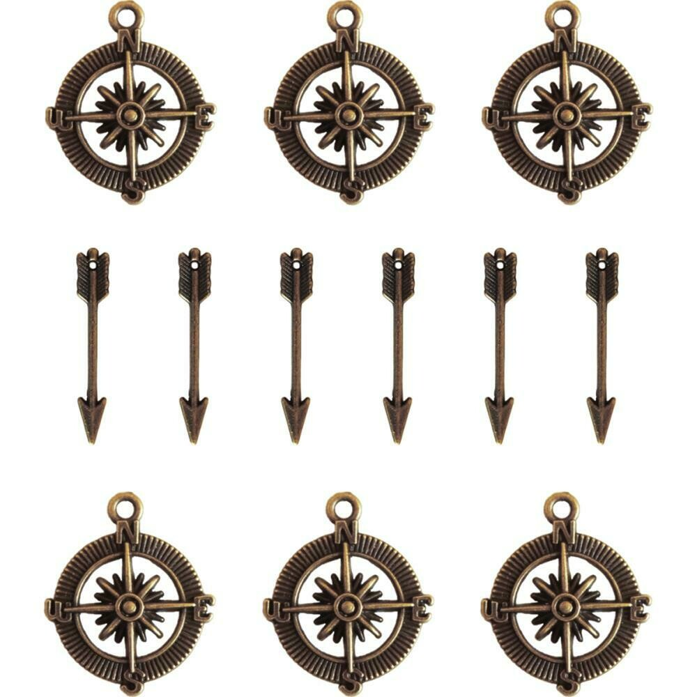Vintage Compass & Mini Arrow Charms- Ken Oliver Embellishments (12pc)