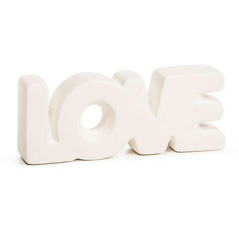 Unfinished Ceramic Word- Love