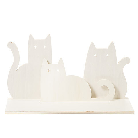 Unfinished Wood Shelf Die Cut Cats