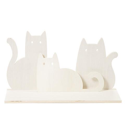 Unfinished Wood Shelf Die Cut Cats