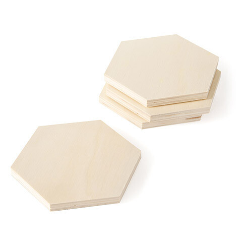 Unfinished Wood Coaster Set 4 pc Hexagon