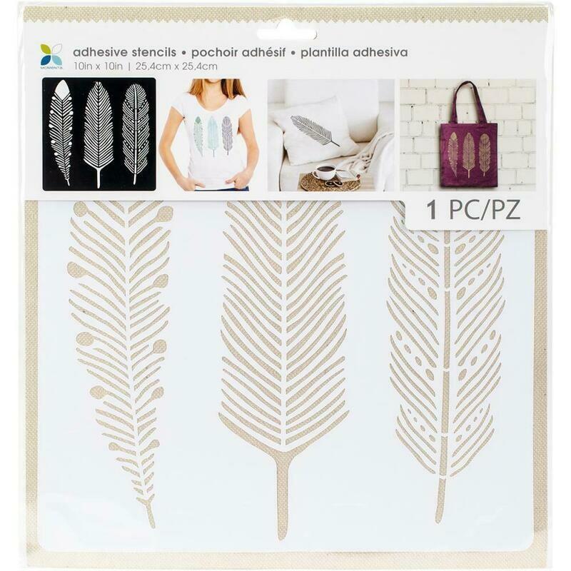 Three Feather Adhesive Stencil 10 x 10 Inch