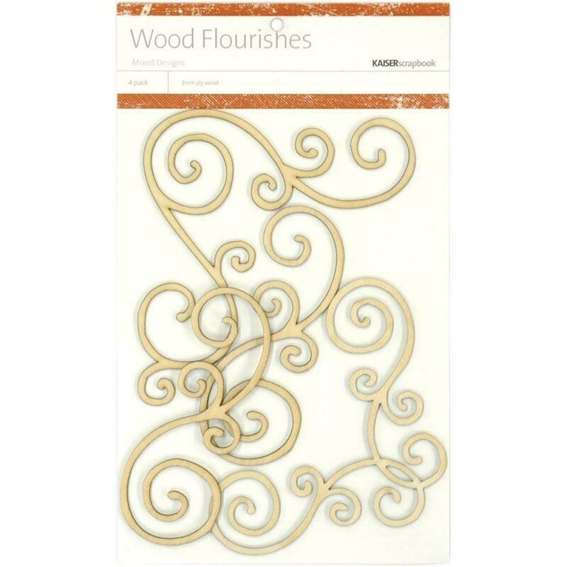 Swirl Wood Flourishes 4 pc