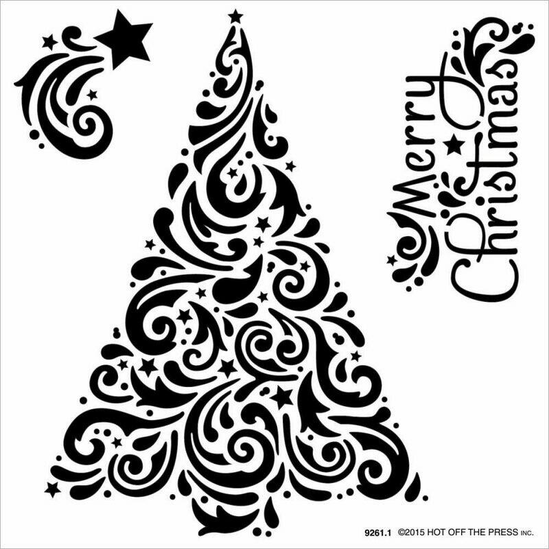 Swirly Christmas Tree Stencil 6 x 6