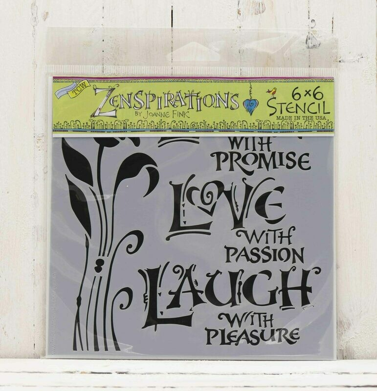 Stencil Live Love Laugh 6x6 for Papercrafters