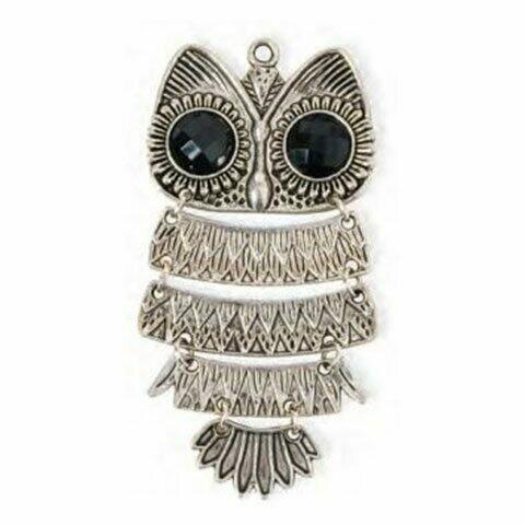 Silver Owl Charm 3 inch x 1.5 inch