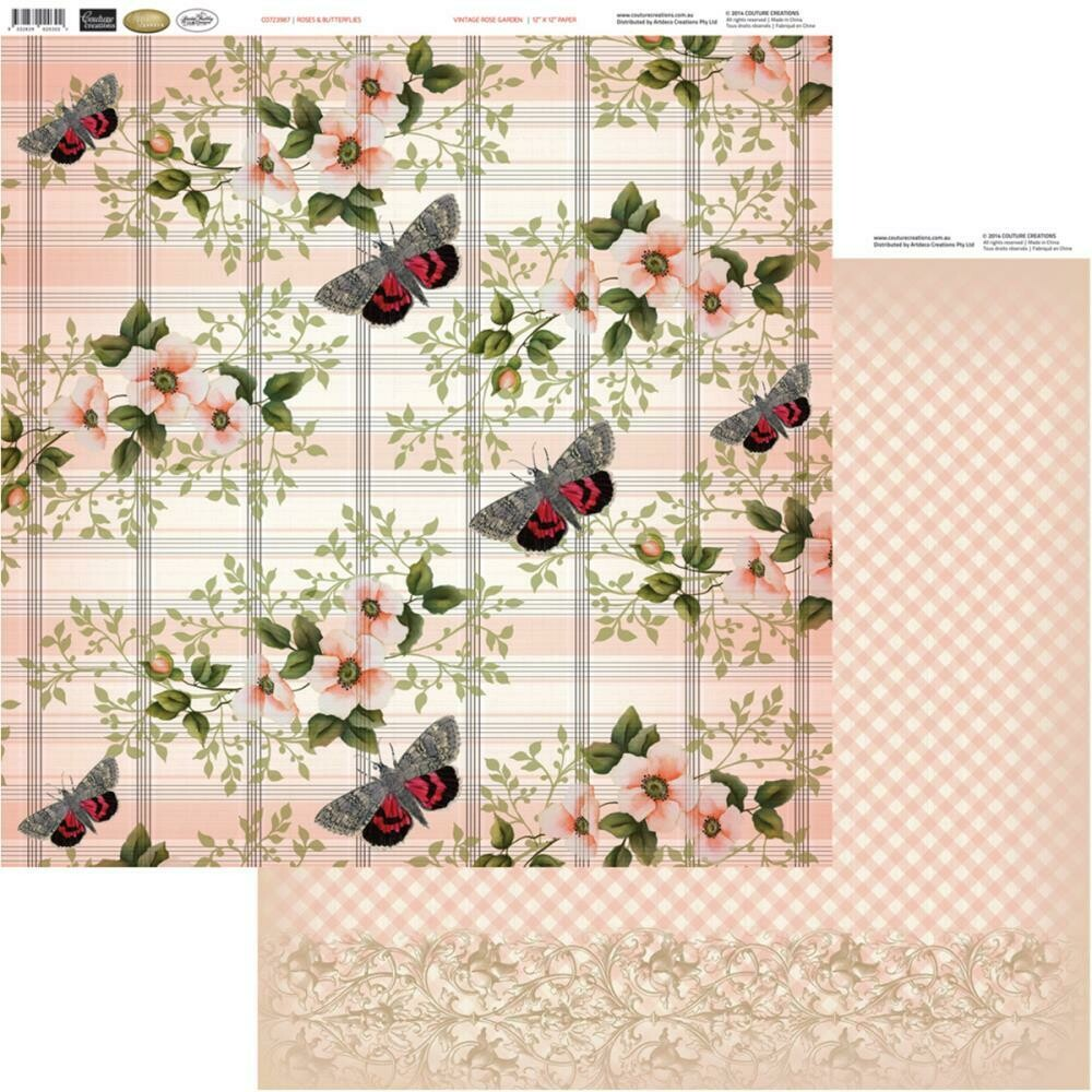 Roses and Butterflies- Vintage Rose Garden- double sided paper 12 x 12