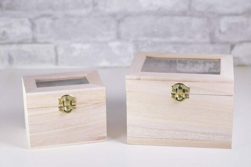 Nesting Wood Boxes With Hinges. Set of Two With Glass Lids. (Square)