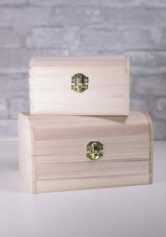Nesting Wood Boxes With Hinges. Set of Two With Rounded Edges.