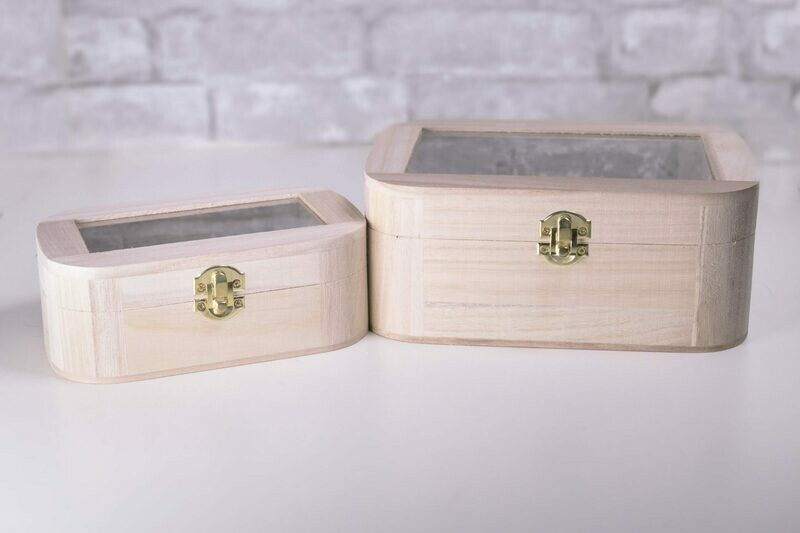 Nesting Wood Boxes With Hinges. Set of Two. Rectangle